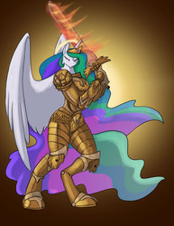 Size: 700x906 | Tagged: safe, artist:foxenawolf, princess celestia, alicorn, anthro, unguligrade anthro, armor, crossover, empress, ethereal mane, ethereal tail, female, fire, flaming sword, flowing mane, flowing tail, god empress of ponykind, god-emperor of mankind, gradient background, halo, horn, mare, multicolored mane, multicolored tail, power armor, powered exoskeleton, praise the sun, purple eyes, royalty, solo, sword, terminator armor, warhammer (game), warhammer 40k, warrior, warrior celestia, weapon, wings
