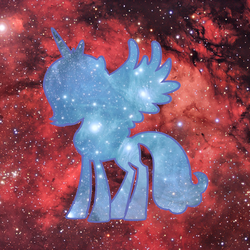 Size: 1000x1000 | Tagged: safe, princess luna, female, parody, solo, stars, the cosmos, touhou