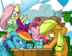 Size: 1300x1000 | Tagged: safe, artist:butts-mcpoop, applejack, fluttershy, pinkie pie, rainbow dash, alcohol, clothes, drink, drinking, drinking contest, drunk, eggnog, sick, snow, snowfall, table, vomit, winter