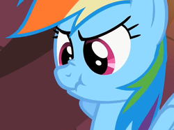 Size: 690x514 | Tagged: safe, rainbow dash, pegasus, pony, bust, female, mare, scrunchy face, solo
