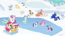 Size: 1600x889 | Tagged: safe, artist:dm29, apple bloom, applejack, big macintosh, bon bon, derpy hooves, doctor whooves, fluttershy, lyra heartstrings, pinkie pie, princess cadance, princess celestia, princess luna, rainbow dash, rarity, scootaloo, shining armor, spike, sweetie belle, sweetie drops, time turner, twilight sparkle, pony, bipedal, cider, clothes, cutie mark crusaders, female, fluttermac, hat, ice skating, male, mane seven, mane six, scarf, shipping, sled, snow, snowball fight, straight, sweater, text, wall of text, winter