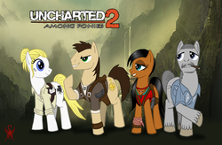 Size: 1000x655 | Tagged: safe, artist:saber-scorpion, chloe frazer, elena fisher, hilarious in hindsight, nathan drake, ponified, uncharted, victor sullivan