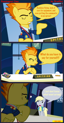 Size: 4266x8200 | Tagged: absurd res, artist:bradiiez, comic, derpy hooves, desk, female, mare, office, pegasus, pony, safe, spitfire, window, wonderbolts academy