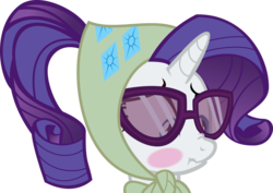 Size: 2000x1412 | Tagged: safe, artist:bpen42, rarity, blushing, camping outfit, embarrassed, glasses, scrunchy face, simple background, solo, transparent background, vector