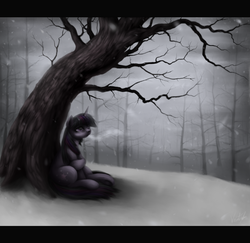 Size: 1100x1070 | Tagged: safe, artist:ventious, twilight sparkle, pony, unicorn, detailed, female, forest, letterboxing, sad, scenery, sitting, snow, snowfall, solo, tree, winter