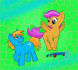 Size: 640x577 | Tagged: artist:tielgar, female, male, safe, scootaloo, scootasnips, shipping, snips, straight