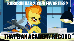 Size: 589x329 | Tagged: academy record, desk, favorite, image macro, meme, office, roboshi (user), safe, spitfire, window, wonderbolts academy