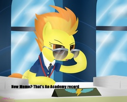 Size: 1000x800 | Tagged: academy record, desk, glasses, meme, office, safe, spitfire, sunglasses, window, wonderbolts academy