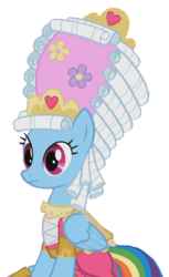 Size: 397x647 | Tagged: safe, edit, edited screencap, screencap, rainbow dash, swarm of the century, background removed, fabulous, mare antoinette, marie antoinette, rainbow dash always dresses in style, simple background, sitting, solo, transparent background, wig