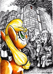 Size: 3512x4880 | Tagged: safe, artist:smellslikebeer, applejack, oc, black and white, crosshatch, crowd, filly, fire, grayscale, ink, looking up, manehattan, monochrome, partial color, sad, traditional art, younger