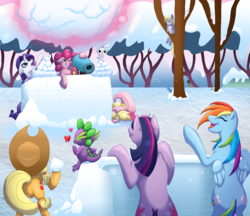 Size: 1310x1133 | Tagged: safe, artist:jewlecho, angel bunny, applejack, derpy hooves, doctor whooves, fluttershy, pinkie pie, rainbow dash, rarity, spike, time turner, twilight sparkle, pegasus, pony, female, mane seven, mane six, mare, party cannon, snow, snowball, snowball fight
