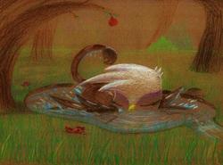 Size: 3309x2455   Tagged: safe, artist:getchanoodlewet, gilda, griffon, bathing, behaving like a bird, birds doing bird things, catbird, cute, eyes closed, female, gildadorable, griffons doing bird things, pomegranate, pond, prone, solo, traditional art, water