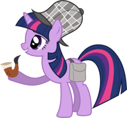 Size: 3930x3670 | Tagged: safe, artist:90sigma, twilight sparkle, pony, unicorn, mmmystery on the friendship express, bubble pipe, deerstalker, female, hat, mare, pipe, sherlock holmes, simple background, solo, transparent background, unicorn twilight, vector