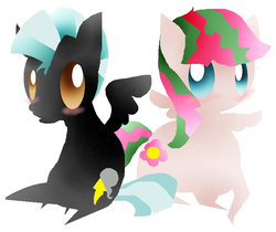 Size: 812x682 | Tagged: artist:angelstar000, blossomforth, blossomlane, female, male, pointy ponies, safe, shipping, straight, thunderlane