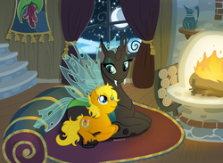 Size: 1200x880   Tagged: safe, artist:pinkuh, oc, oc only, changeling, fireplace, moon