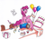 Size: 2892x2512 | Tagged: safe, artist:thefimp, pinkie pie, semi-anthro, balloon, cake, confetti, food, party cannon, solo