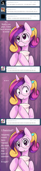 Size: 580x2378 | Tagged: safe, artist:ende26, princess cadance, ask high school cadance, ask, blushing, glasses, scrunchy face, tumblr