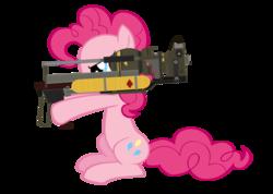 Size: 900x642 | Tagged: safe, artist:metadragonart, pinkie pie, earth pony, pony, atomic bomb, crossover, fallout, fat boy, fat man, female, gun, mini nuke, nuclear weapon, xk-class end-of-the-world scenario