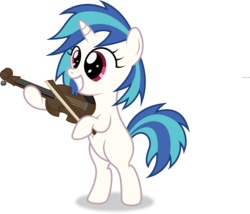 Size: 6980x5985   Tagged: safe, artist:agamnentzar, artist:tim015, dj pon-3, vinyl scratch, pony, unicorn, absurd resolution, bipedal, blank flank, dj-pon3, female, filly, filly vinyl scratch, foal, hooves, horn, musical instrument, simple background, smiling, solo, teeth, transparent background, vector, violin, younger
