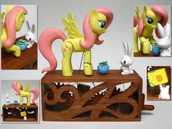 Size: 2272x1704 | Tagged: safe, artist:renegadecow, angel bunny, fluttershy, automaton, bowl, custom, irl, photo, sculpture, solo, woodwork