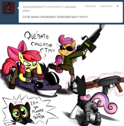 Size: 1101x1117 | Tagged: safe, apple bloom, babs seed, scootaloo, sweetie belle, oc, counter-strike, equestria-latina, spanish