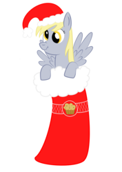 Size: 1700x2400 | Tagged: safe, artist:japaneseteeth, derpy hooves, pegasus, pony, christmas, christmas stocking, female, hat, mare, muffin, santa hat, scrunchy face