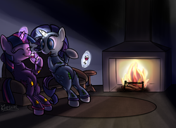 Size: 800x582   Tagged: safe, artist:cheshiresdesires, rarity, twilight sparkle, alcohol, clothes, couch, drink, drinking, fireplace, pajamas, wine