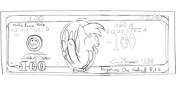 Size: 800x400 | Tagged: artist needed, derpy hooves, dollar, female, mare, money, monochrome, muffin, pegasus, pony, safe, tongue out