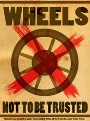 Size: 895x1200 | Tagged: safe, artist:pixelkitties, trixie, magic duel, propaganda, wheel, wheels trixie
