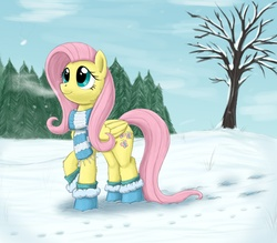 Size: 2008x1762 | Tagged: safe, artist:otakuap, fluttershy, bare tree, boots, breath, clothes, cute, fluffy, hoofprints, looking up, raised hoof, scarf, smiling, snow, snowfall, solo, tree, winter