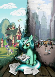 Size: 2000x2790 | Tagged: dead source, safe, artist:vombavr, bon bon, lyra heartstrings, pinkie pie, sweetie drops, earth pony, human, pony, unicorn, fanfic:anthropology, city, drawing, duality, female, helicopter, house, magic, magic aura, mare, skyscraper, telekinesis