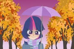 Size: 685x448 | Tagged: safe, artist:bikkisu, twilight sparkle, autumn, clothes, humanized, scarf, umbrella, winter