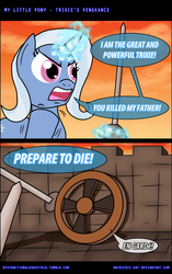 Size: 800x1277 | Tagged: safe, artist:ladyanidraws, trixie, pony, unicorn, comic, crossover, don't trust wheels, female, glowing horn, horn, inigo montoya, levitation, magic, magic aura, mare, movie reference, prepare to die, telekinesis, that pony sure does hate wheels, the princess bride, wheel, wheels trixie, you killed my father