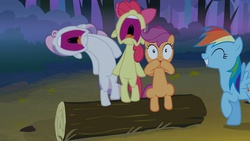 Size: 1280x720 | Tagged: safe, screencap, apple bloom, rainbow dash, scootaloo, sweetie belle, earth pony, pegasus, pony, unicorn, sleepless in ponyville, aaugh!, cutie mark crusaders, faic, female, filly, great moments in animation, mare, nose in the air, scared, screaming, uvula, volumetric mouth