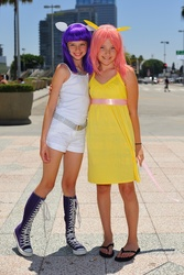 Size: 868x1301 | Tagged: safe, fluttershy, rarity, human, child, convention, cosplay, flip-flops, irl, irl human, photo, sandals