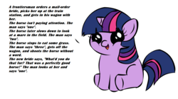 Size: 1194x668 | Tagged: safe, twilight sparkle, pony, unicorn, female, filly, filly twilight telling an offensive joke, implied death, solo, younger