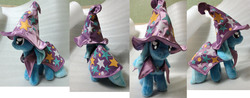 Size: 2552x1000 | Tagged: safe, artist:rens-twin, trixie, pony, unicorn, cape, clothes, female, hat, irl, mare, photo, plushie, solo, trixie's cape, trixie's hat