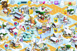 Size: 640x426 | Tagged: applejack, balloon pop, balloon pop stand, barn, braeburn, carrot cake, cherry blossoms, christmas, daring do, gameloft, golden oaks library, pinkie pie, safe, screencap, snow, spa, treehouse, twilight sparkle