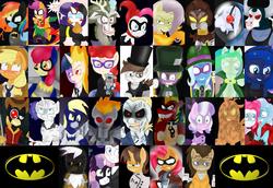 Size: 5100x3500 | Tagged: safe, artist:blackbewhite2k7, apple bloom, applejack, babs seed, braeburn, bulk biceps, cranky doodle donkey, derpy hooves, diamond tiara, discord, doctor horse, doctor stable, doctor whooves, firefly, fluttershy, garble, gilda, iron will, pinkie pie, pipsqueak, prince blueblood, princess celestia, princess luna, queen chrysalis, rainbow dash, rarity, roid rage, scootaloo, screw loose, smarty pants, spike, spitfire, sweetie belle, time turner, trixie, twilight sparkle, twist, wild card, zecora, alicorn, donkey, dragon, earth pony, griffon, minotaur, pegasus, pony, unicorn, zebra, g1, absurd resolution, antagonist, anti-hero, anti-heroine, anti-villain, anti-villainess, baby doll, bane, batgirl, batman, batzarro, black mask, blushing, calendar man, catgirl, catwoman, clayface, collage, commissioner gordon, crossover, deadshot, empowered zombie, female, firefly (dc comics), g1 to g4, generation leap, harley quinn, hero, heroine, hugo strange, jason todd, jokercord, killer croc, mad hatter, mane six, mr. freeze, mutant, pinkie quinn, poison ivy, ra's al ghul, red hood, robin, scarecrow, scarface, sharp teeth, solomon grundy, stitches, talia al ghul, teeth, the creeper, the joker, the penguin, the riddler, the scarecrow, the ventriloquist, two-face, victor zsasz, villainess, wall of tags