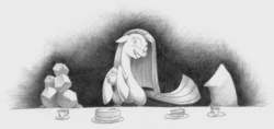 Size: 2840x1344 | Tagged: safe, artist:underpable, madame leflour, pinkie pie, rocky, party of one, cake, cup, insanity, monochrome, pinkamena diane pie, plate, sketch, tea, tea party, teacup, teapot, traditional art