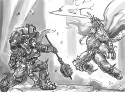 Size: 1750x1289 | Tagged: safe, artist:johnjoseco, nightmare moon, princess celestia, human, armor, burning blade, crossover, eye contact, fight, fire, glare, god empress of ponykind, god-emperor of mankind, grayscale, horus heresy, horus lupercal, humanized, laughing, mace, monochrome, open mouth, power sword, smiling, sword, talon of horus, terminator armor, warhammer (game), warhammer 30k, warhammer 40k, warrior celestia, weapon, wide eyes, worldbreaker