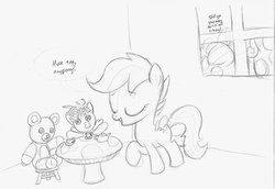Size: 1350x929 | Tagged: safe, artist:abronyaccount, apple bloom, scootaloo, sweetie belle, color me, cutie mark crusaders, sketch, tea party