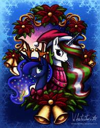 Size: 943x1200   Tagged: safe, artist:whitestar1802, princess celestia, princess luna, candy, christmas, hat, santa hat