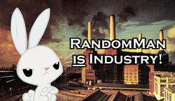 Size: 600x347 | Tagged: safe, edit, angel bunny, album cover, angel is not amused, animals (album), battersea power station, factory, hipgnosis, industry, know your meme, london, pink floyd, united kingdom