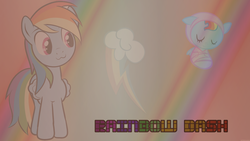 Size: 1366x768 | Tagged: safe, artist:coolez, rainbow dash, foal, text, vector, wallpaper