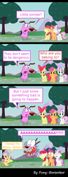 Size: 696x1788 | Tagged: safe, artist:pony-berserker, artist:ratchethun, artist:regolithx, artist:spacekingofspace, artist:yanoda, apple bloom, scootaloo, sweetie belle, dog, earth pony, pegasus, pony, unicorn, 2012, breaking the fourth wall, comic, courage the cowardly dog, crossover, cutie mark crusaders, dialogue, diaper, english, fear, female, filly, flailing, foal, g3.5, grin, horrified, inkscape, jump scare, jumping, male, open mouth, outdoors, quintet, riding, scared, screaming, smiling, speech bubble, spread wings, standing, tongue out, toy car, tree, vector, wings, worried, yelling