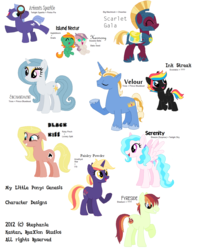 Size: 1305x1651 | Tagged: safe, artist:cat4lyst, oc, oc only, oc:artemis sparkle, oc:black kiss, oc:fyreside, oc:harmony, oc:island nectar, oc:paisley powder, oc:scarlet gala, oc:serenity, oc:velour, magical lesbian spawn, my little pony genesis, offspring, parent:amethyst star, parent:apple bloom, parent:babs seed, parent:big macintosh, parent:braeburn, parent:cheerilee, parent:lickety split, parent:lily, parent:pinkie pie, parent:prince blueblood, parent:ruby pinch, parent:scootaloo, parent:snails, parent:surprise, parent:sweetie belle, parent:trixie, parent:twilight sky, parent:twilight sparkle, parents:babsbelle, parents:bluetrix, parents:cheerimac, parents:snailbloom, parents:twinkie