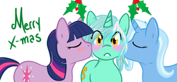 Size: 1280x597 | Tagged: artist:azure-doodle, artist:vaderpl, blushing, eyes closed, female, holly, holly mistaken for mistletoe, kissing, kiss on the cheek, kiss sandwich, lesbian, lyra heartstrings, safe, sexually confused lyra, shipping, trixie, twilight sparkle, twyra