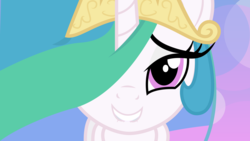 Size: 9600x5400 | Tagged: safe, artist:lazypixel, princess celestia, absurd resolution, bedroom eyes, bust, female, grin, hair over one eye, lip bite, looking at you, portrait, smiling, solo, vector