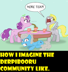 Size: 774x825 | Tagged: safe, artist:professor-ponyarity, derpy hooves, screw loose, screwball, pegasus, pony, derpibooru, alice in wonderland, brandon rogers, female, insanity, mare, meta, tea, tea party, we're all mad here, yellow words